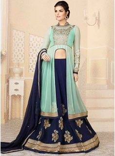 Sparkling Turquoise And Nevy Blue Georgette With Work Salwar Suit. Online Designer Salwar Suit At Guyana. http://www.angelnx.com/