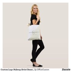 Shop Custom Logo Makeup Artist Beauty Salon Business Tote Bag created by OfficeCustom. White Tote Bag, Black Letter, Travel Tote, Custom Logos, Crossbody Bag, Reusable Tote Bags, Stylish, Shopping, Cross Body