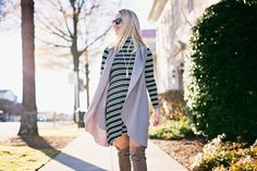 striped dress + drapey vest | The Blog — Edit By Lauren
