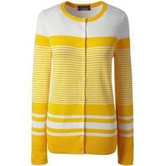 Lands' End Women's Petite Supima Cotton Stripe Cardigan Sweater (4.685 RUB) ❤ liked on Polyvore featuring tops, yellow, lands' end, button top, striped top, lands end tops and petite tops