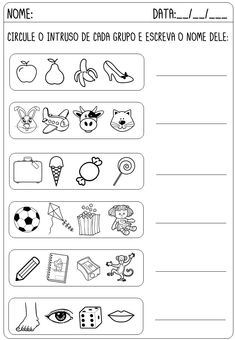 Imagem Portuguese Lessons, Reading Comprehension Worksheets, Sorting Activities, Teaching, Apraxia, Professor, Design Ideas, Living Room, Preschool Literacy Activities