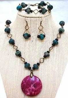 Gemstone Imperial Jasper Rustic Style Brass Necklace Bracelet Earrings Gift@http://stores.ebay.com/BeautyandtheGems.
