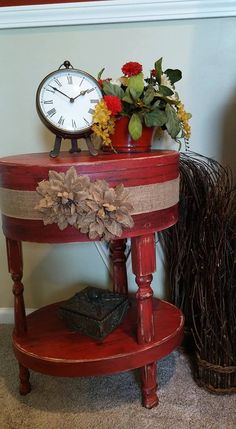 Red beautiful Shabby Chic accent table, round or oval