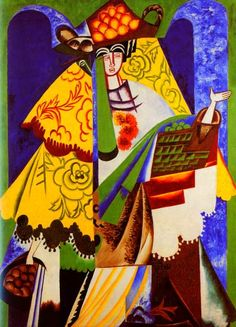 Orange Vendor, Spain - Natalia Goncharova, Date: 1916 Style: Cubism, Expressionism Kandinsky, Cavalier Bleu, Oil Canvas, Francis Picabia, Avant Garde Artists, Georges Braque, European Paintings, Art Database, Art Abstrait