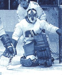 with the Quebec Nordiques. Hockey Logos, Bruins Hockey, Hockey Goalie, Ice Hockey, Nhl, Quebec Nordiques, Goalie Mask, King Richard, Masked Man
