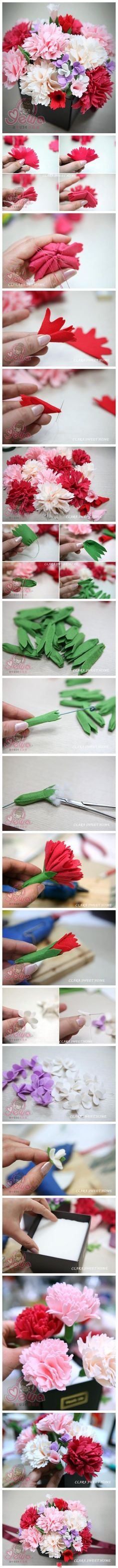 felt tutorials- felt flowers carnation and hydrangea bouquet tutorialcarnation and hydrangea bouquet tutorial Felt Diy, Felt Crafts, Fabric Crafts, Sewing Crafts, Diy And Crafts, Paper Crafts, Sewing Projects, Felt Flowers, Diy Flowers