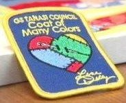 My favorite GS patch of all--the Coat of Many Colors patch. The requirements are so sweet--can't wait to do this with the girls when they become Brownies.