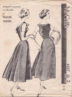 50s McCall's sewing pattern 4257, Pauline Trigére Cocktail dress sewing pattern, bust 32 inches