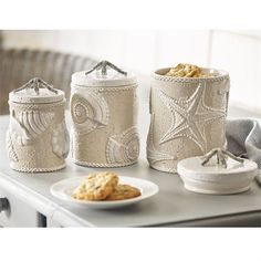 What A Unbelievable Unique Coastal Sand Nautilus Canister Set To Spruce Up Your Beach House Kitchen Or Bathroom