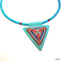 Beadwork Jewelry, Geometric Necklace, Bead Jewelry, Gold Statement Necklace, Triangle,Bead Art Jewelry-necklace-handcrafted-handmade-jewellery