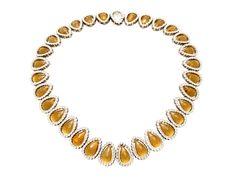 Collar oro blanco citrino briolette brillantes