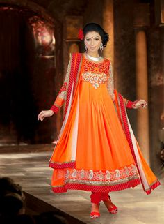 Orange Patch Work Long Anarkali Salwar