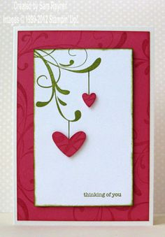 I'm not quite sure which pink Krista used but I've used Melon Mambo and Old Olive. The card base is actually Shimmery White (121717) as I find it a little more substantial than Whisper White for supporting the weight of the whole card. The little suspended hearts are made with the Heart to Heart punch