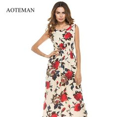 8a360832244 AOTEMAN Long Summer Women Dress Sexy Vintage Print Floral Sleeveless Dress  Female Casual Bohemian Beach Party