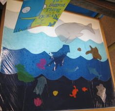cut shapes out of tissue paper from a story, laminate for the light table...Awesome!!