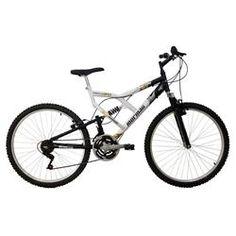 Bicicleta Mormaii 21 Marchas, Aro 26, Full Suspension, Aço Carbono, Pedivela Tripla, Freios V-Brake, Rodas em Alumínio Branca e Preta- Full Max