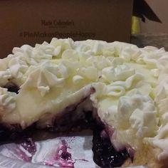 Double Cream Blueberry Pie.  #piemakespeoplehappy #blueberry #cream #blueberrydoublecream #mariecallenders #pie #bakery #dessert #treat #bigpiesale #delicious