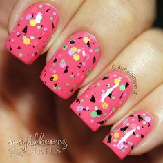 """Nails - """"Water My Melon"""" by Femme Fatale Lacquer over Picture Polish """"Watermelon"""" --- Instagram @majikbeenz"""