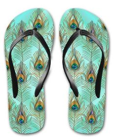 FLIP FLOPS Peacock Feathers, Shades Of Blue, Flip Flops, Blues, Women's Fashion, Lady, Stuff To Buy, Image