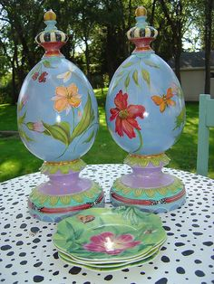 Nicci Martin Functional Art   Ceramic finials painted with acrylic, sealed with polyurethane