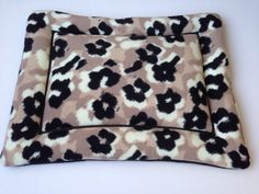 Black and Tan Floral Fleece Dog Cat Bed Pad by ComfyPetPads #blackandtan #floral #petitems