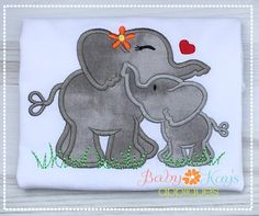 This sweet Elephant mom and baby snuggle together in this fun design. Great for Mother's day!