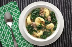 Kale Turkey Sausage & Tortellini Soup by atouchofcinnamon: A one pot wonder. (You could always shortcut with ready made frozen chicken meatballs, frozen tortellini and boxed chicken broth. #Soup #Kale #Sausage #Tortellini
