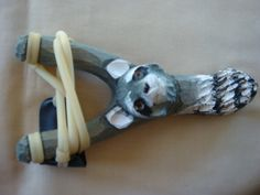 Wooden 3D Hand Carved Raccoon Head Sling shot by GoodtradeKevin