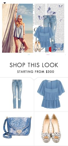 """Butterflies in the Sky"" by seafreak83 on Polyvore featuring Oris, H&M, Frame, Sonia Rykiel, Valentino, Christian Louboutin, denim, Blue and beach"