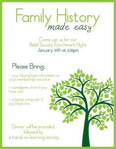 Enrichment Night, Invitation, Relief Society, Blank Invitation, Family History, Activity