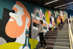 Visual and written paraphernalia curated by Isobel Forey; aspiring illustrator, creative writer, natural-world-admirer Installation Street Art, Pavement Art, Art Deco Illustration, Fence Art, 3d Street Art, Wall Drawing, Building Art, Mural Wall Art, Environmental Design