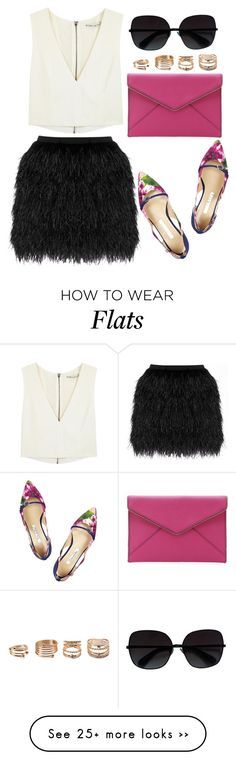 """#258"" by preet111 on Polyvore featuring Raoul, Alice + Olivia, Oscar de la Renta, Rebecca Minkoff, Marc by Marc Jacobs, Forever 21, croptop, Leather and MINISKIRT"