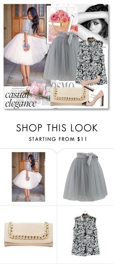 """""""Tulle Skirt in Grey"""" by rosely25 ❤ liked on Polyvore featuring Chanel, Chicwish, Charlotte Russe and Miu Miu"""