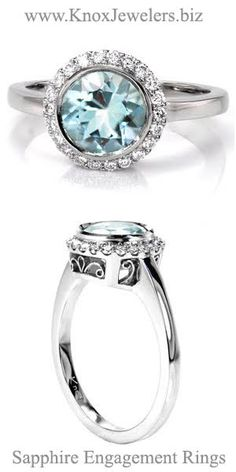 Crafted in Platinum, this engagement ring design evokes a serene quality with a 1.50 carat round cut Aquamarine center gemstone. A petite halo of round cut diamonds within shared prongs soften the center stone full bezel. A high polish band reveals six baskets of hand formed filigree work.
