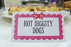 Hot Diggity Dogs are crescent wrapped cocktail weenies for a Minnie Mouse Bow-tique inspired kids birthday party (Labels are on etsy)