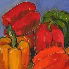 Mary Deutschman still life of peppers, a Cleveland, Ohio artist with work at bayarts.net