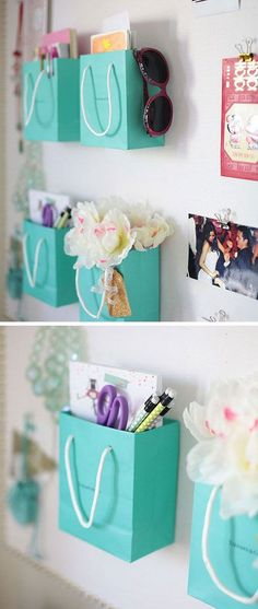 Cool DIY Ideas & Tutorials for Teenage Girls' Bedroom Decoration - For Creative Juice Shopping Bag Supply Holders: Instead of throwing away, you can repurpose those really cute and real Teenage Girl Bedroom Designs, Teen Girl Rooms, Girl Bedrooms, Bedroom Ideas For Small Rooms For Girls, Kids Rooms, Ideas Habitaciones, Life Hacks Every Girl Should Know, Diy Home Decor Rustic, Farmhouse Decor