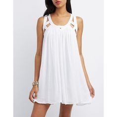Charlotte Russe Caged Yoke Shift Dress ($27) ❤ liked on Polyvore featuring dresses, white, cage dress, charlotte russe, white sundress, gauze sundresses and gauze dress