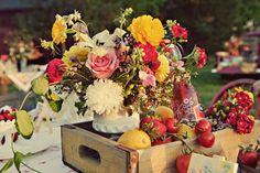 Rustic Centerpieces Wedding Flowers Photos on WeddingWire