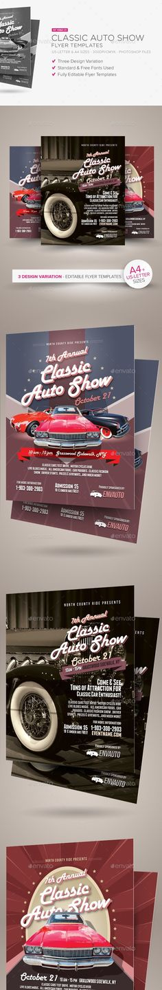 ad, advert, advertisement, auto, automotive, car, cars, classic, drive, engine, fair, flyer, leaflet, motor, motor cycle, old, oldie, oldish, pamphlet, parade, retro, ride, show, style, test drive, vintage, wheels Jan 30 – 2017 Update: Now, A4 size version is also added into the download pack.   Classic Auto Show Flyers  	Alternative flyer templates perfect for classic auto or car show event. Available in three design variation, these templates are fully editable (text, photos, color…