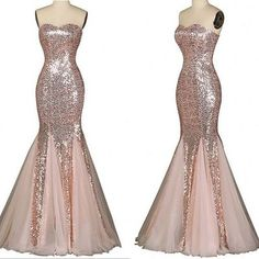 Strapless mermaid long sparkly rose gold prom dress