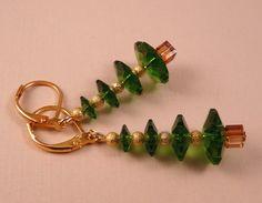 Christmas Earrings Christmas Jewelry Swarovski by bluerosebeadery, $15.00