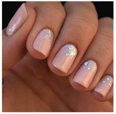 nude nails with a touch of sparkle