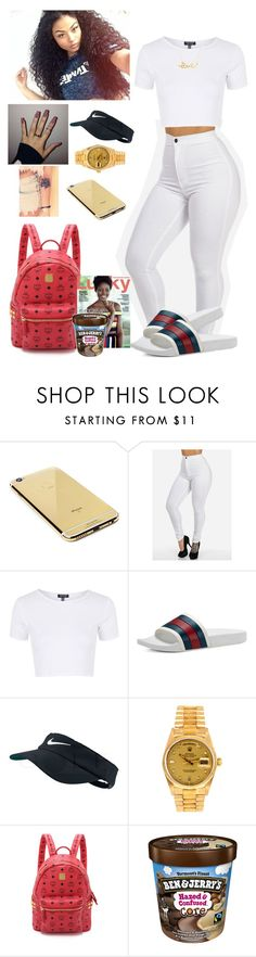 """""""Thought there was a drought;)"""" by anicolelauren ❤ liked on Polyvore featuring Goldgenie, Topshop, Gucci, NIKE, Rolex, MCM, Minnie Grace, women's clothing, women's fashion and women"""