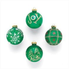 Glass Christmas Ball Ornaments. This set of four glass Christmas ball ornaments features a different holiday design, including snowflakes, Christmas trees, wrapping paper and more. Set of 4.. Price: $10.48