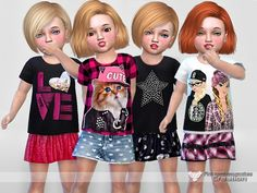 Created By Pinkzombiecupcakes Toddler Everyday Collection 02 Created for: The Sims 4 Custom thumbnails High ql textures This collection has: -t-shirts in 4 styles -skirt collection in 3 styles -denim. Sims 4 Teen, Sims 4 Toddler, Sims Cc, Sims 4 Cc Kids Clothing, Sims 4 Cc Skin, The Sims 4 Download, Good Day Song, Sims 4 Cc Finds, Sims Resource