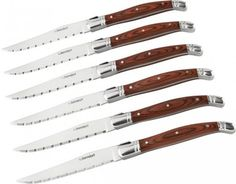 Berndorf Laguiole Steak Knives Set of 6  Initially a pocket knife originating in Andalusian Spain and migrating to France with shepherds and cattle herders, the traditional Laguiole style is a result of hundreds of years of history and culture. The concept was adopted in 1829 and introduced into bars and restaurants of Paris and now has become a world-renowned quality product. An essential item for any steak enthusiast.