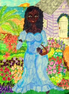 OOAK Mixed Media Painting First Cut Woman by African American Folk Artist, Stacey Torres - $50.00  Enjoy a 10% discount (off total order) on this drawing, or any item in my Etsy Store. Click on the link, and when you are ready to checkout, simply add the following 10% Off COUPON CODE: STA2014