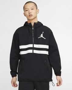 Men's Nike Jordan Jumpman Logo Jacket CJ4347-010 Jordan Jackets, Jumpman Logo, Black Nikes, Fitness Fashion, Adidas Jacket, Hooded Jacket, Active Wear, Jordans, Logos