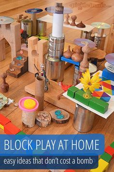 Play at Home Block Play at Home - easy ideas that don't cost a bomb!Block Play at Home - easy ideas that don't cost a bomb! Play Based Learning, Learning Through Play, Early Learning, Block Center, Block Area, Block Play, Play Centre, Thinking Day, Creative Play
